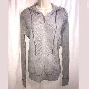 Athleta Heather Gray Hoodie Zip Sweater Thumb Hole
